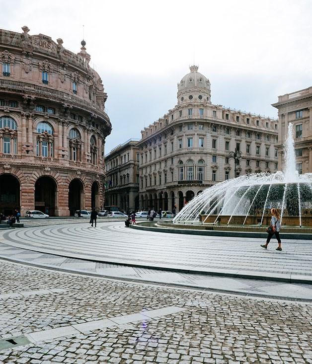 Piazza de Ferrari, the hub of city life in Genoa, Italy.