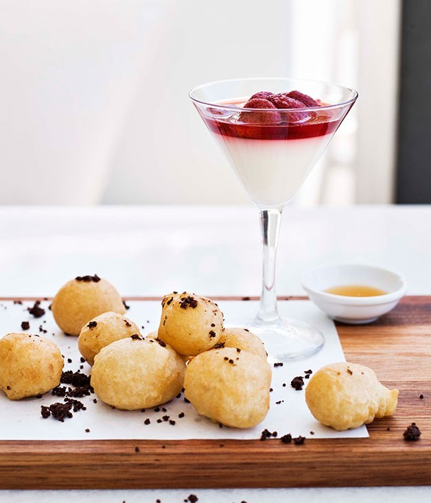 **Island of Chios mastic panna cotta with Greek doughnuts**