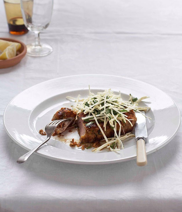 "[**Crumbed veal cutlet with lemon and celeriac (costoletta con sedano rapa)**](https://www.gourmettraveller.com.au/recipes/fast-recipes/crumbed-veal-cutlet-with-lemon-and-celeriac-costoletta-con-sedano-rapa-13111|target=""_blank"")"