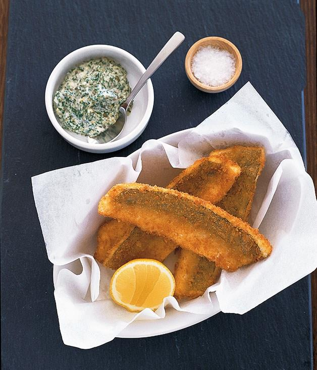 "[**Crumbed King George Whiting and sauce gribiche**](https://www.gourmettraveller.com.au/recipes/chefs-recipes/crumbed-king-george-whiting-and-sauce-gribiche-7338|target=""_blank"")"