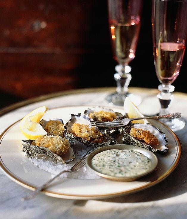 "[**Crumbed oysters with tartare sauce**](https://www.gourmettraveller.com.au/recipes/chefs-recipes/crumbed-oysters-with-tartare-sauce-8818|target=""_blank"")"
