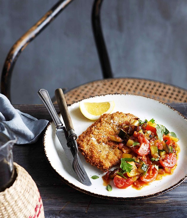 "[**Crumbed veal scaloppine with caponata**](https://www.gourmettraveller.com.au/recipes/chefs-recipes/crumbed-veal-scaloppine-with-caponata-9096|target=""_blank"")"