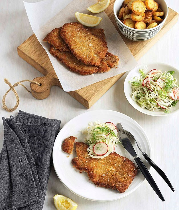 "[**Wiener schnitzel**](https://www.gourmettraveller.com.au/recipes/browse-all/wiener-schnitzel-8712|target=""_blank"")"