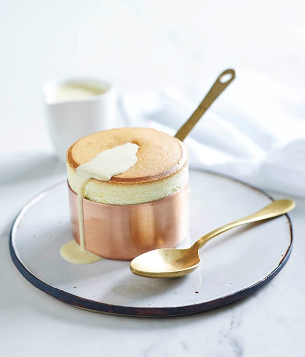 Passionfruit soufflés with vanilla Anglaise