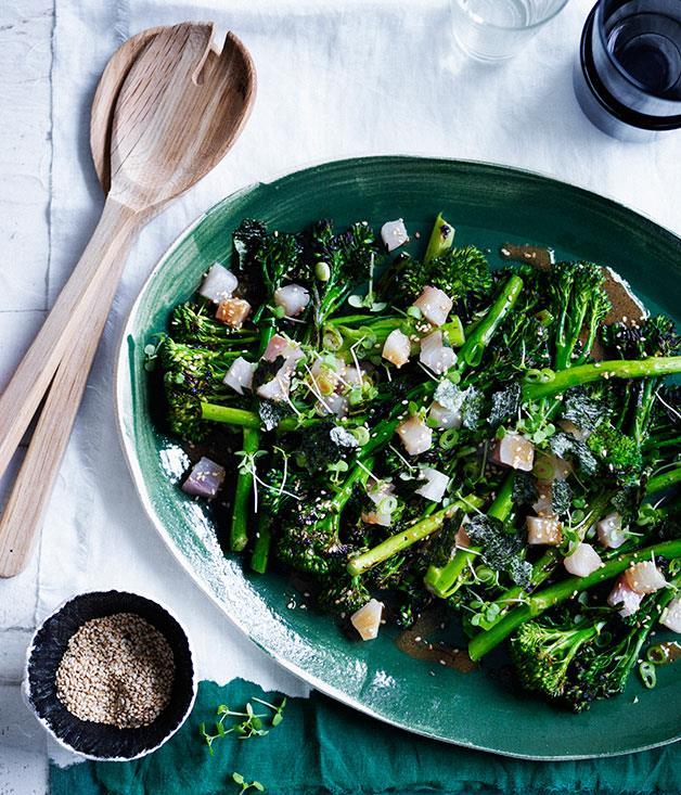 """**[Charred broccolini with kingfish, miso and sesame](https://www.gourmettraveller.com.au/recipes/browse-all/charred-broccolini-with-kingfish-miso-and-sesame-12338