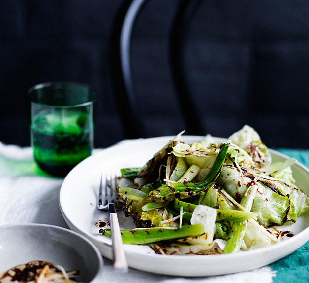 Scorched iceberg lettuce and spring onion with black vinegar and ginger