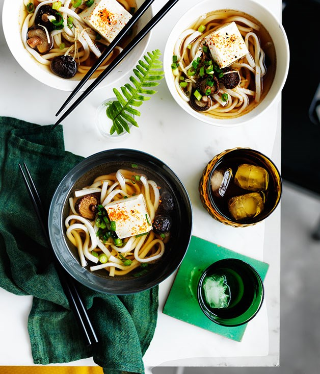 Udon noodle soup with shiitake mushrooms and tofu