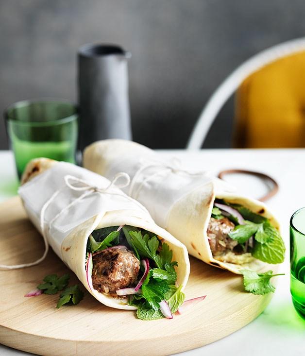 Lamb kofta wraps with parsley and onion salad