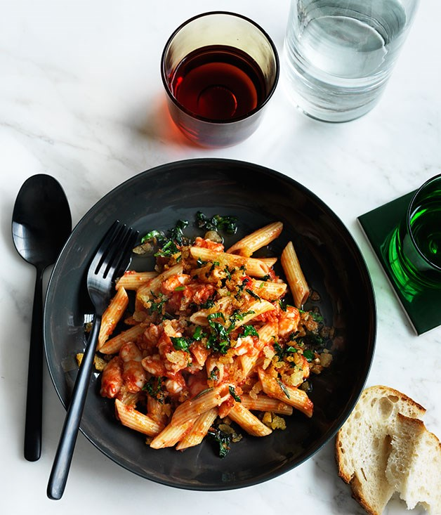 Penne with prawns and fra diavolo sauce