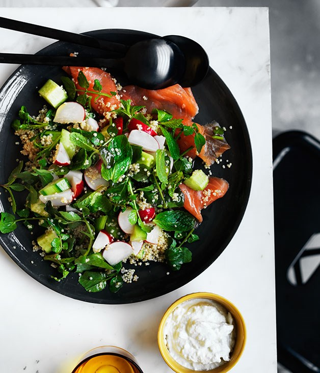 Cucumber, radish and quinoa salad with ocean trout and yoghurt