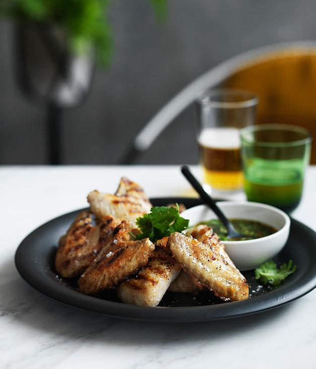 "**[Grilled chicken wings with nahm jim](http://www.gourmettraveller.com.au/recipes/fast-recipes/grilled-chicken-wings-with-nahm-jim-13637|target=""_blank"")**"