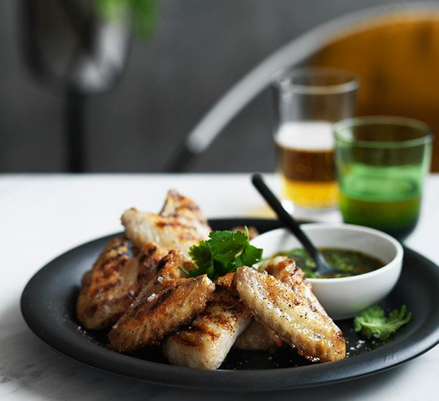 Grilled chicken wings with nahm jim