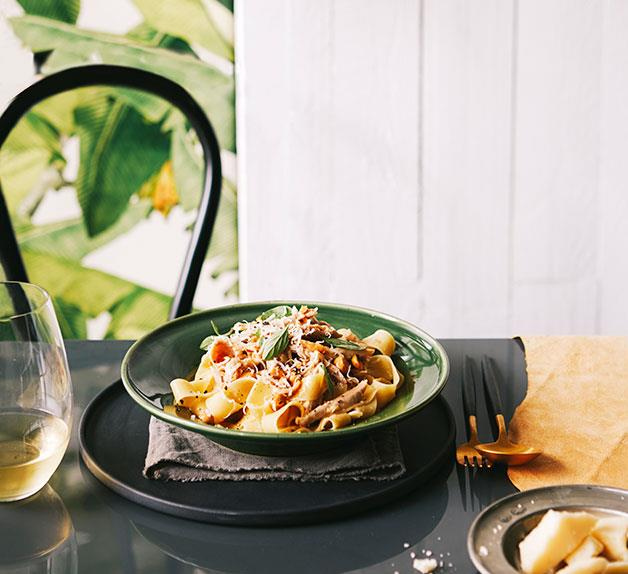 Pappardelle with braised rabbit, marjoram and hazelnuts