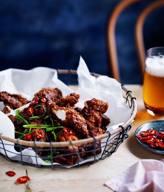 **Salt-and-pepper chicken spare ribs with tamarind hot sauce**