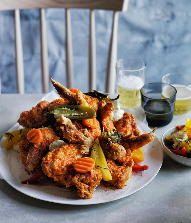 "**[Dan Pepperell's fried chicken alla diavola](http://www.gourmettraveller.com.au/recipes/chefs-recipes/fried-chicken-alla-diavola-8323|target=""_blank"")**"