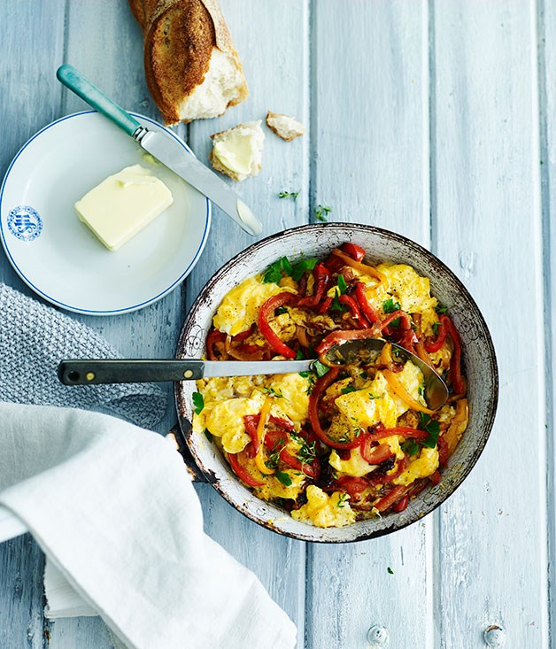 "[**Eggs piperade**](https://www.gourmettraveller.com.au/recipes/fast-recipes/eggs-piperade-13639|target=""_blank"")"