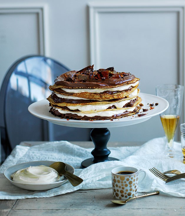 "[**Chocolate-coffee crêpe cake**](https://www.gourmettraveller.com.au/recipes/browse-all/chocolate-coffee-crepe-cake-12342|target=""_blank"")"