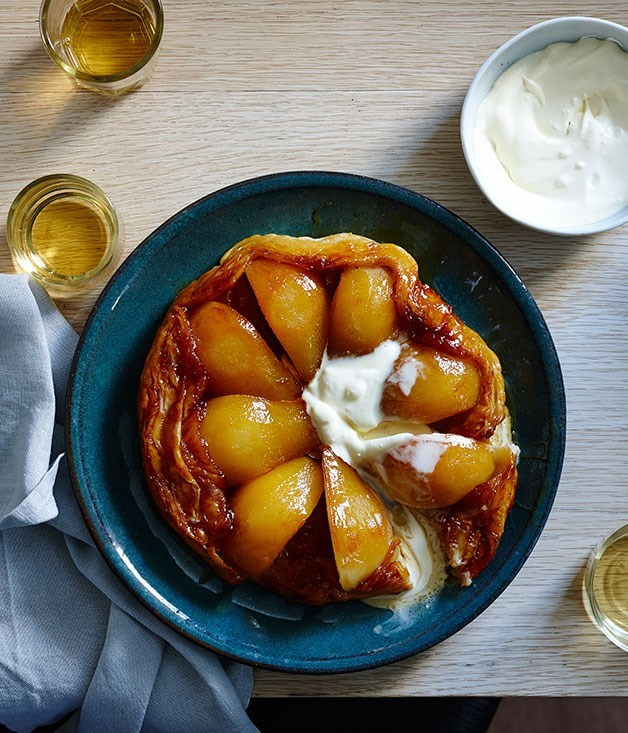 "[Pear tarte Tatin](https://www.gourmettraveller.com.au/recipes/fast-recipes/pear-tarte-tatin-13598|target=""_blank"")"
