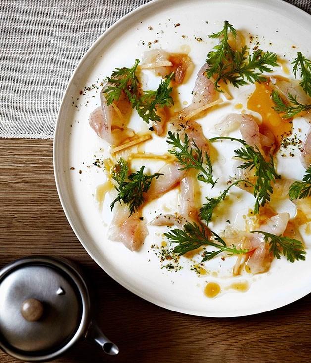 **John Dory, sea lettuce salt, sesame dressing and chrysanthemum**