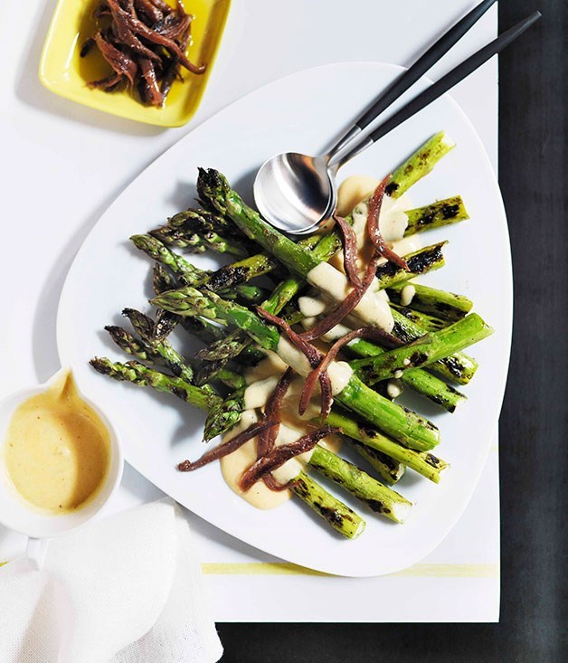 **Grilled Asparagus with Parmesan Cream and Anchovies**
