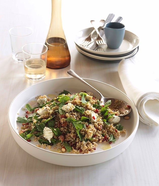 "[**Cracked wheat and freekah salad with barberry dressing**](https://www.gourmettraveller.com.au/recipes/chefs-recipes/cracked-wheat-and-freekah-salad-with-barberry-dressing-8946|target=""_blank"")"