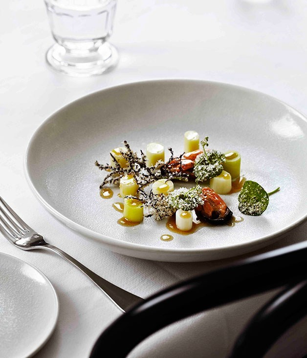 **Steamed leeks, burnt butter and almonds, mussels**