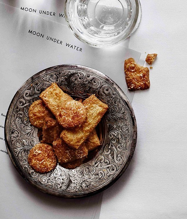 "[**Cheese biscuits**](https://www.gourmettraveller.com.au/recipes/browse-all/cheese-biscuits-11279|target=""_blank"")"