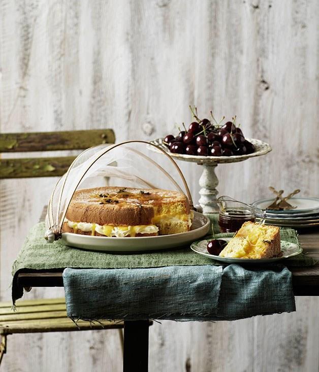 "[**Lemon and thyme sponge cake**](https://www.gourmettraveller.com.au/recipes/browse-all/lemon-and-thyme-sponge-cake-9883 target=""_blank"")"