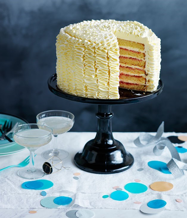 **Vanilla-rose layer cake**