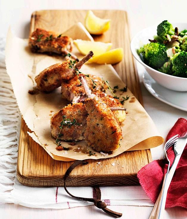 "[**Parmesan-crumbed lamb cutlets with broccoli and anchovies**](https://www.gourmettraveller.com.au/recipes/fast-recipes/parmesan-crumbed-lamb-cutlets-with-broccoli-and-anchovies-13321|target=""_blank"")"