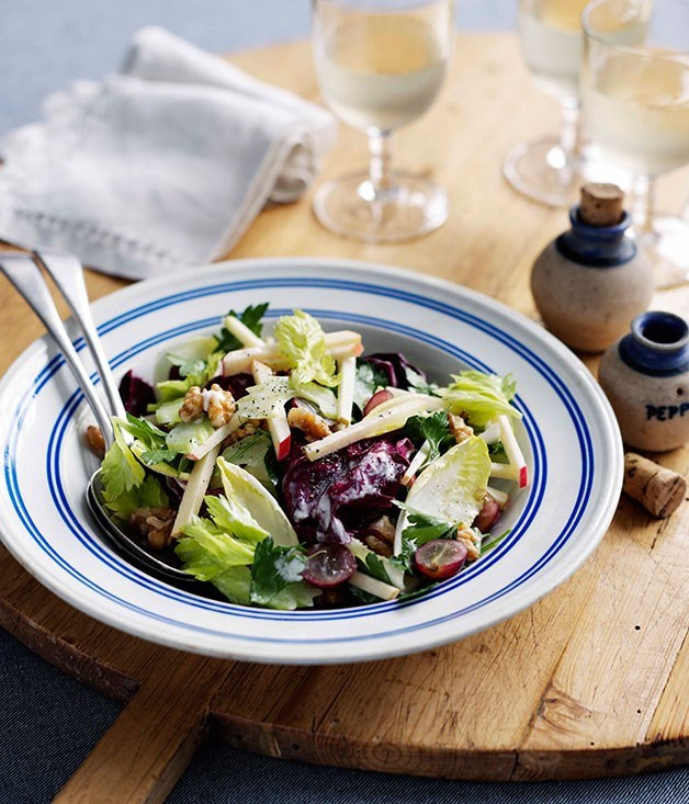 "[**Waldorf salad**](https://www.gourmettraveller.com.au/recipes/browse-all/waldorf-salad-8714|target=""_blank"") <br><br> Reinventing the uppity image of the Waldorf salad with this version that adds a slight bitter note and a contrast of colours on your plate."