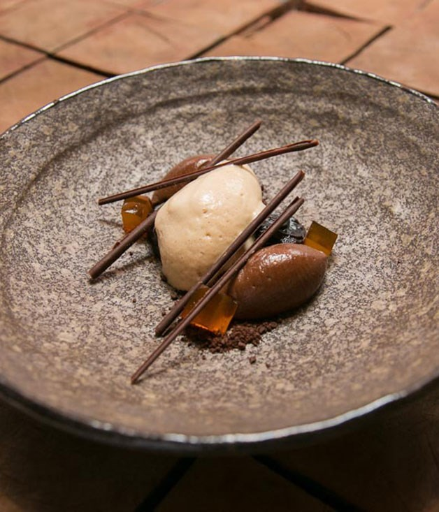 **Earl Grey ice-cream, PX prunes, chocolate and honey**