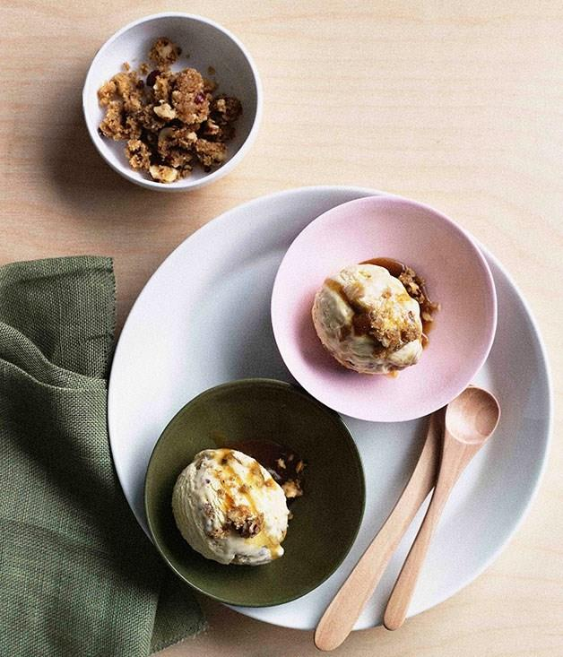 "**[Apple crumble ice-cream](https://www.gourmettraveller.com.au/recipes/browse-all/apple-crumble-ice-cream-9756|target=""_blank"")**"