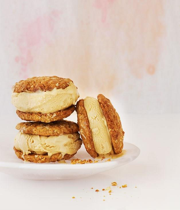 "**[Anzac and golden syrup ice-cream sandwiches](https://www.gourmettraveller.com.au/recipes/browse-all/anzac-and-golden-syrup-ice-cream-sandwiches-12166|target=""_blank"")**"