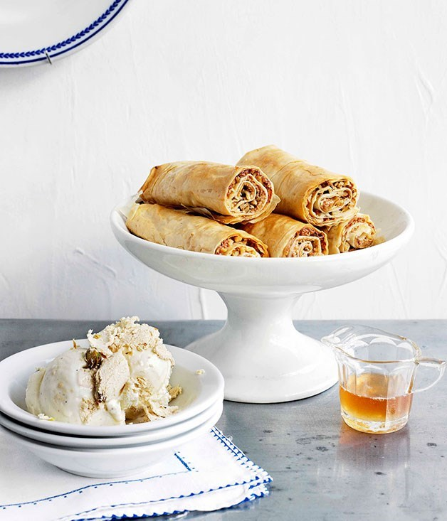 **Baklava fingers with honey syrup and halva ice-cream**