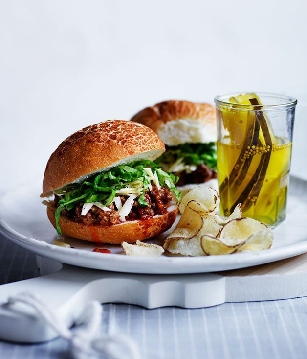 **Sloppy Joes with pickles, cheese and chips**
