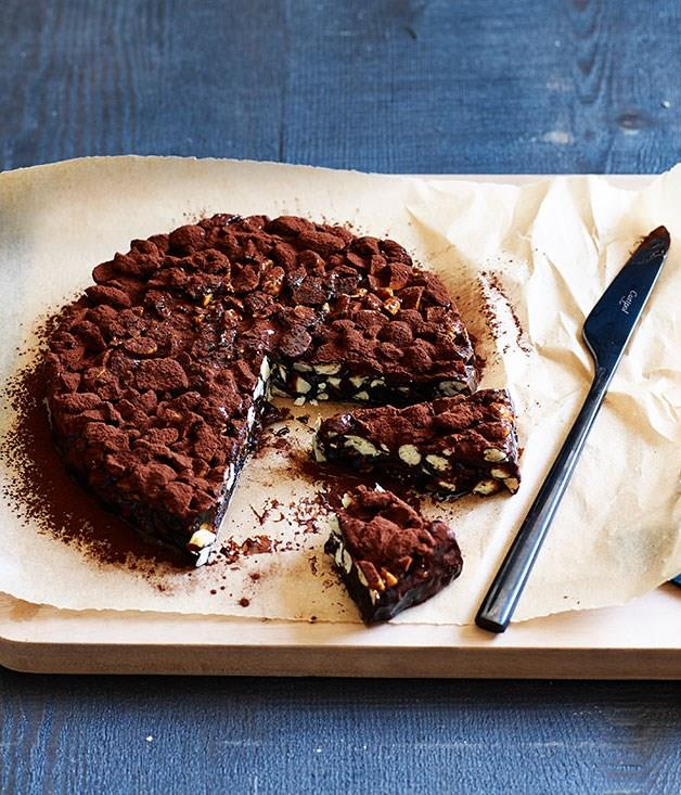 """[**Dark-chocolate and sour-cherry panforte**](https://www.gourmettraveller.com.au/recipes/browse-all/dark-chocolate-and-sour-cherry-panforte-12094 target=""""_blank"""")"""