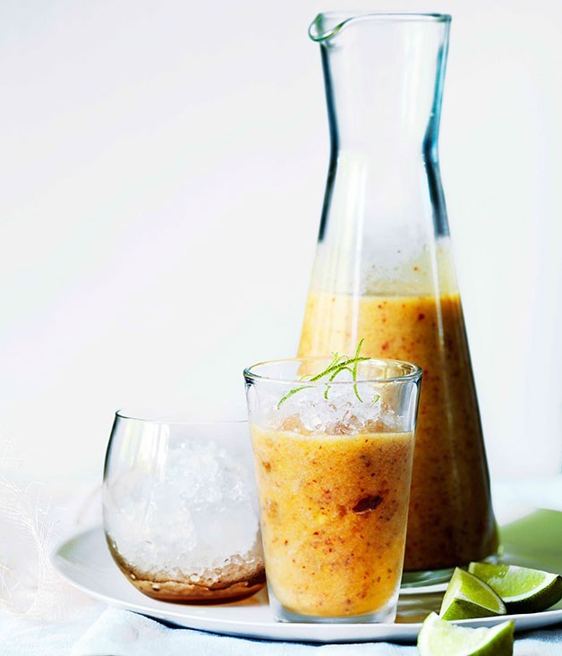 "[**Peach, lime and cachaça slushie**](https://www.gourmettraveller.com.au/recipes/browse-all/peach-lime-and-cachaca-slushie-11521|target=""_blank"")"