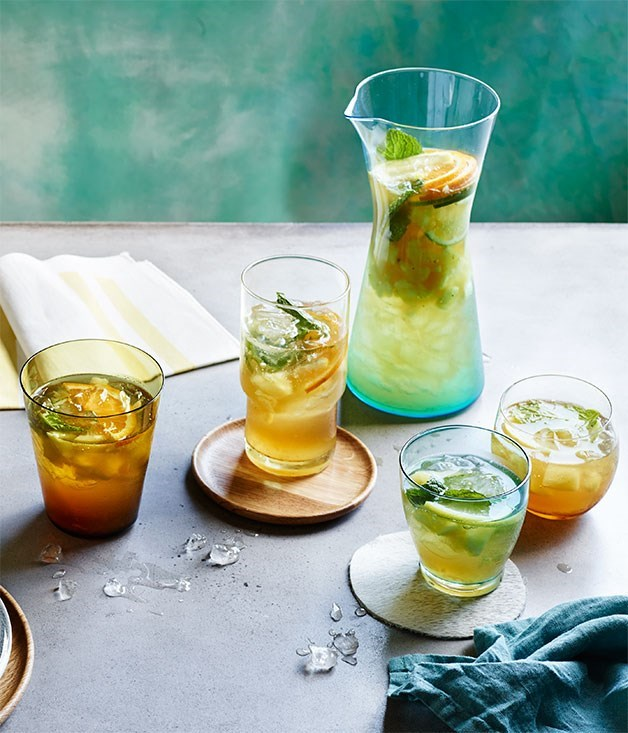 "[**Pineapple, mint, ginger and lime crush**](https://www.gourmettraveller.com.au/recipes/browse-all/pineapple-mint-ginger-and-lime-crush-12197|target=""_blank"")"