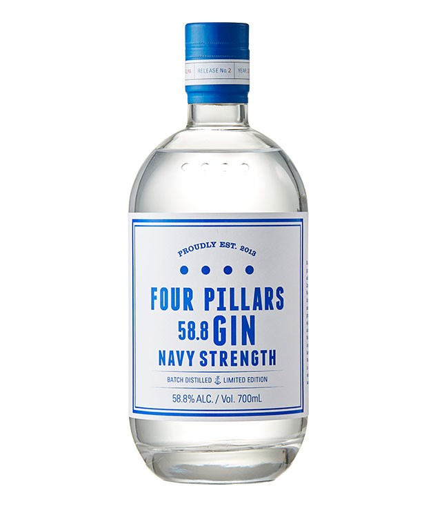 """**Four Pillars Navy Strength Gin** [Four Pillars Navy Strength Gin, Yarra Valley, Vic, 700ml, $95](http://www.fourpillarsgin.com.au """"Four Pillars Gin"""")   The """"standard"""" Four Pillars gin at 41.8 per cent alcohol is good, but this 58.8 per cent bottling is very good: punchy, rich, full of the flavours of juniper and citrus and woody spices. Perfect for a Dirty Martini or a Gimlet (gin and lime juice)."""