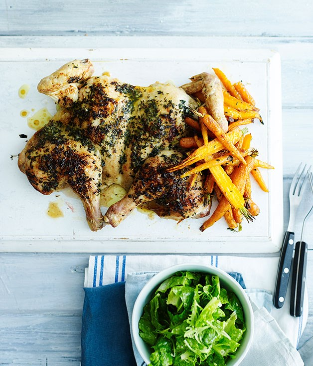 Roast chicken with tarragon butter and Dutch carrots