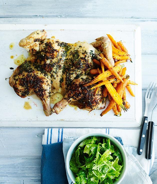 "**[Roast chicken with tarragon butter and Dutch carrots](http://www.gourmettraveller.com.au/recipes/fast-recipes/roast-chicken-with-tarragon-butter-and-dutch-carrots-13644|target=""_blank"")**"