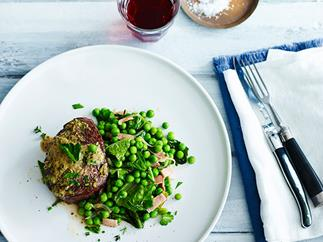 Mustard-crusted roast beef with peas à la Française