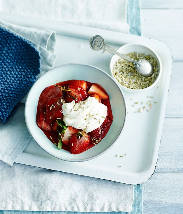 Roast strawberries with crème fraîche and candied fennel seeds