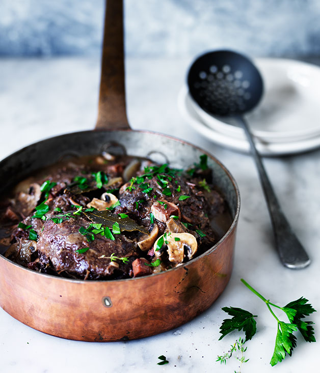 "[**Beef cheek bourguignon**](https://www.gourmettraveller.com.au/recipes/browse-all/beef-cheek-bourguignon-12347|target=""_blank"")"