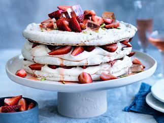 Pistachio and strawberry vacherin