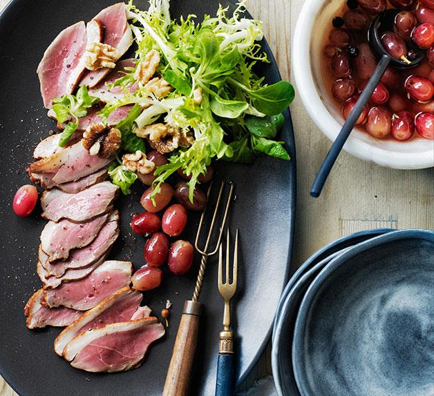 Smoked duck breast with pickled grapes
