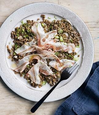Home-cured pork with lentil salad
