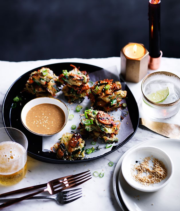 Potato and mussel pancakes with sesame dipping sauce