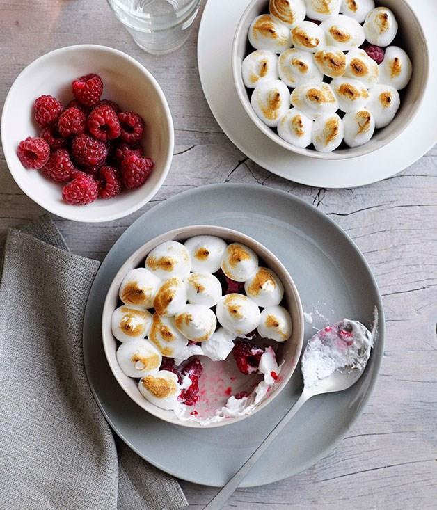 **Raspberries with eucalyptus meringue**